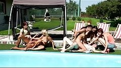 Wild CFNM orgy by the pool with seven teenagers