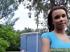 Sexy redhead latina teen Raven Redmond nailed in the car