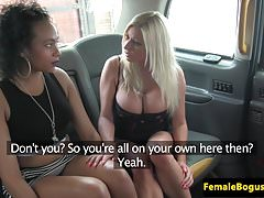 Busty female cabbie pussylicked by black brit
