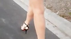 Hot russian MILF walking outdoors (high heels, nylons, ass)