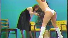 Spanked in white satin panties