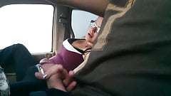 Handjob On The Highway In Car Wife Jerks Off Husband