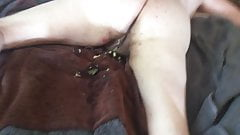 Meg's arse after a good anal fucking and cream pie closeup