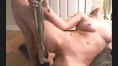 blonde fucks dildo on stripper pole to orgasm