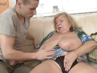 Old busty grandma fucked by young boy