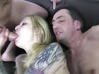 Skinny Chick Gets A Rough Threesome
