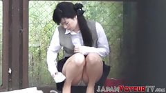 Japanese babe upskirt filmed by devious voyeur outdoors