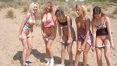 Lesbiennes exhib sur la plage essaient des bites