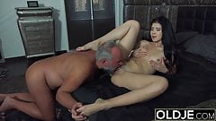 18 years old nympho starts masturbating in front of grandpa