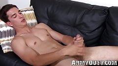 Sex crazed army guy takes his big dick and masturbates