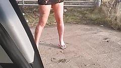 Stephanie standing beside my car...