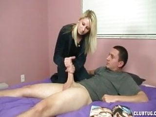 Sexy Blonde Teen Jerks Off A Dick
