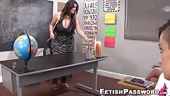 Schoolgirl Alby Rydes jerks off students cock with teacher