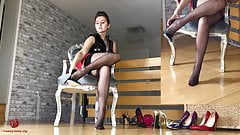 Shoeplay Dangling in nylon and barefeet