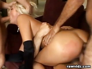 Raw Double Penetration Gangbang For Wild Blonde