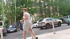 Booty ass in grey dress