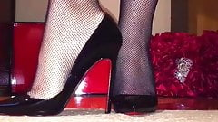 Christian Louboutin Pigalle with stockings