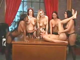 5 Females Fuck A Guy With Strap On's