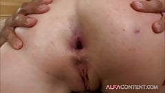 Blonde slut with big natural tits gets hard ass fucked