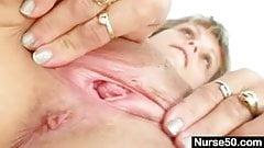 Skinny milf senior nurse toys her pussy on gynochair's Thumb