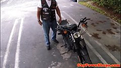 Pawning straight biker assfucked in office