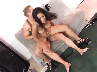 Lusty asian chick gets a spanking then gags on white meat