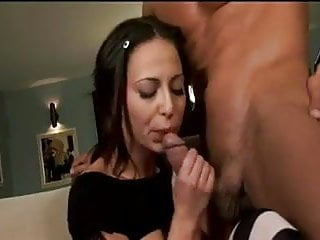 Horny brunette anally fucks in striped stockings