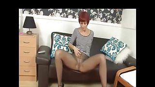 Redhead MILF Tears Pantyhose To Expose Wet Pussy