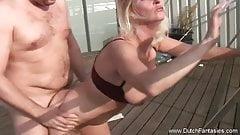Chubby Dutch Blonde MILF Rides Cock