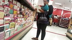 Ebony older woman candid shopping