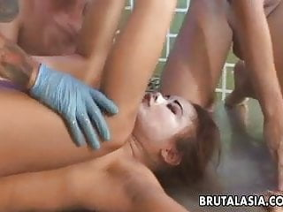 Masked Asian slut gets pussy ravaged by the definition of it