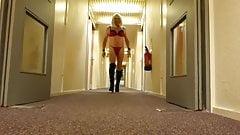 Another hotel corridor walk in her lingerie