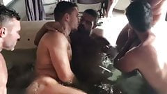 Hot hunks suck each other off in hot Tub