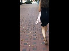 Candid - Fat ass in tight skirt