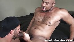 Interracial barebacking session for greedy hunk