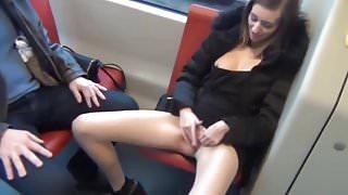 girl masturbates openly in public transport
