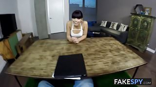 Cute slut undresses and spreads her legs for hardcore action
