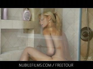 Skinny blonde Erica Fontes shower orgasm