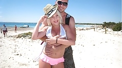 German Blond 18yr old Teen Seduce to Fuck at Beach of Malle