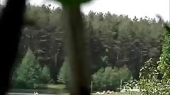 girl sunbathing on the pond