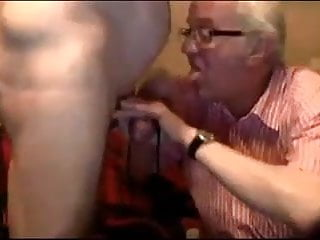 Old mature grandpa playing with friend's penis