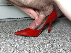 Red Patent Leather Stilettos Hump and Cum