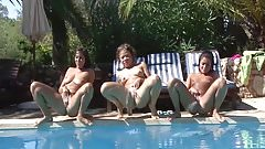 3 girls peeing in a pool