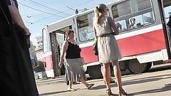 Beautiful Blonde Upskirted On A Bus