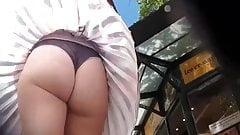 Wind lifts skirt