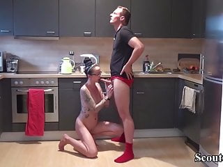 Sister Caught Naked in Kitchen and Get Fucked by Step-Bro