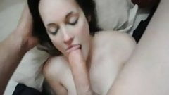 Busty girl and a huge dick