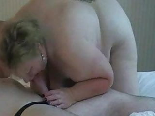 Big tits BBW mom sucking cock