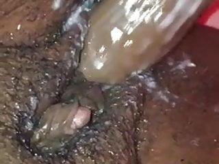 Ebony big clit orgasim fucking her wet creamy pussy