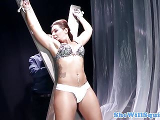 Tied up babe squirts when being pussyfucked